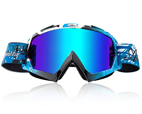 Basecamp Snow Skiing Snowboarding Goggles,Unisex Motocross Sports Snowmobile Snowboard Ski Goggles Anti Fog Dust UV, Dustproof Scratch-Resistant Bendable Windproof Eyewear Protective Glasses (Blue Snowboarding Ski)