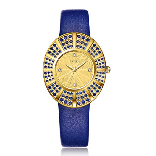 Sapphire Blue Gold Watches Women - Leather Luxury Wrist Watch Band 108 Crystals