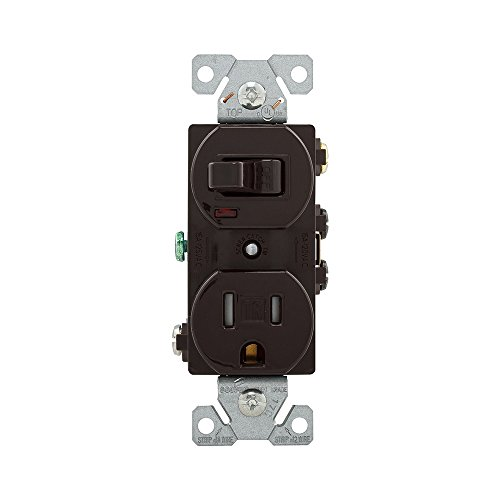 Cooper Receptacle (Eaton TR274B 15 Amp 120V 5-15 3-Wire Combination Receptacle & Toggle Switch, Brown)