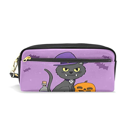 Kitty Halloween Leather Student Pencil Case Cosmetic Pen Bag Makeup Pouch for Teen -