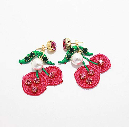 MUPWG Fashion Style Cherry Fruit Grape Necklace Pendant Chain Earrings Earring Ear Dangler Women Girls Long Handmade Cloth Embroidered Pearl (Cherry (Gold Plated) -