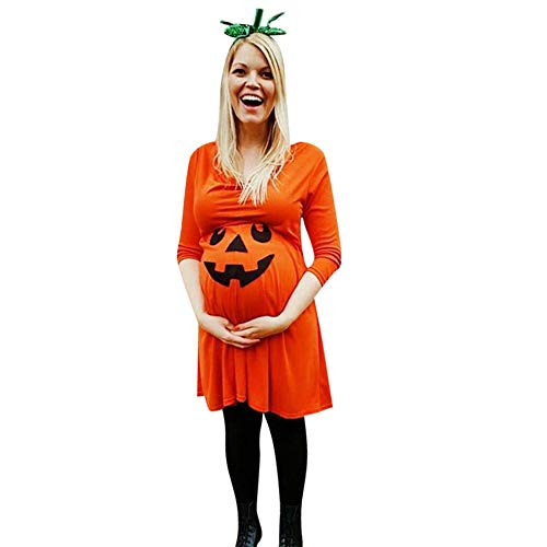 Hatop Women's Pregnant Nursing Nightgown Pregnancy Halloween Devil Print Dress Maternity Clothes (Orange, 2XL) -