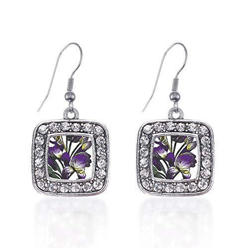 - Inspired Silver - Iris Flower Charm Earrings for Women - Silver Square Charm French Hook Drop Earrings with Cubic Zirconia Jewelry
