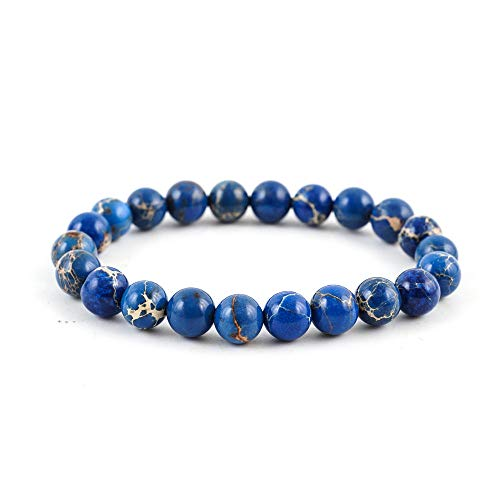 Natural Blue Sea Sediment Jasper Gemstone Bracelet 7 inch Stretchy Chakra Gems Stones Healing Crystal (Unisex) GB8-3 ()