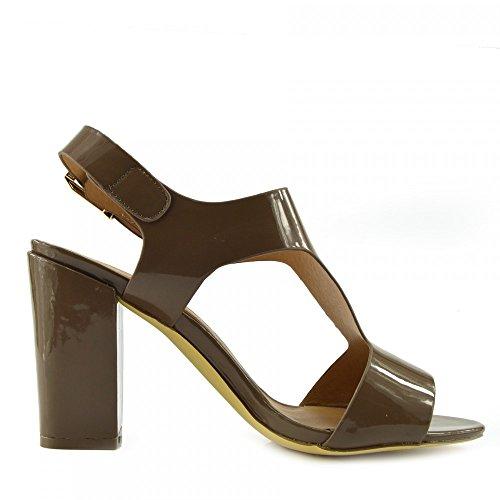 Kick Footwear - Damen Sandaletten mit Schnalle Ankle Strap Black Patent Sandalen Taupe