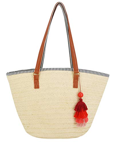 AGNETA Women's Simple and Fashionable Tassel Tote One-Shoulder Straw Woven Shoulder Bag -