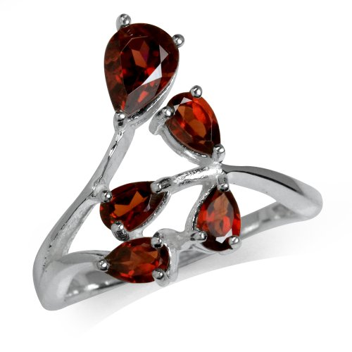 (1.2ct. Natural Garnet 925 Sterling Silver Cluster Ring Size 8)