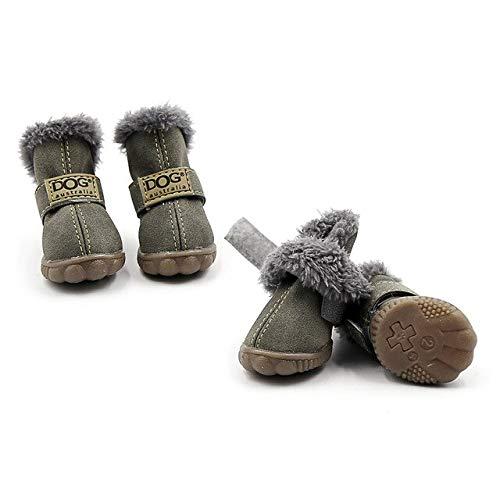 Green, L   4pcs Pet Dog shoes Boots Paw Predectors Anti Slip Winter Super Warm Snow Boots for Dog Puppy Suede Antiskid Rubber Sole XS-XL