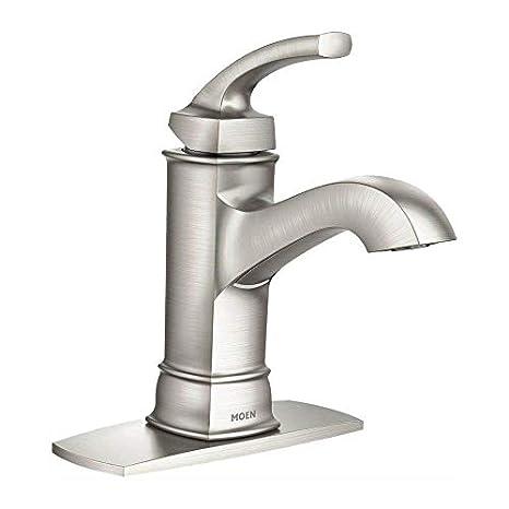 moen ws84414msrn hensley single handle 1 hole bathroom faucet spot resist brushed nickel