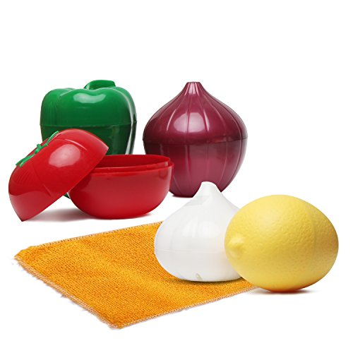 Food Saver Set of 6 - Onion, Pepper, Garlic, Lemon, Tomato,Cleaning Cloth - Reusable BPA Free Plastic Storage Container Shell with Tight Seal and Ventilation (Onion Tomato)