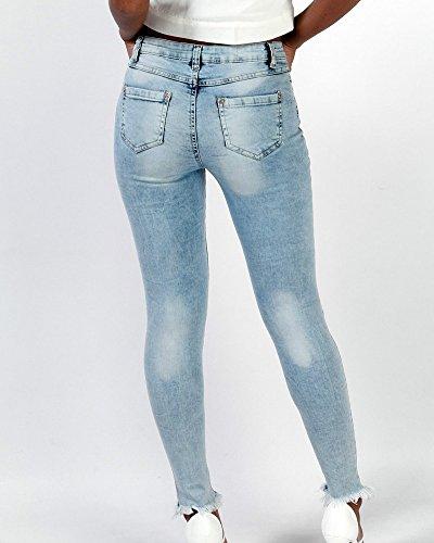 ZhuiKun Mujer Vaqueros Esquina Flaca Pantalones Pequeños Pies Pantalones Vaqueros Elásticos Azul Claro