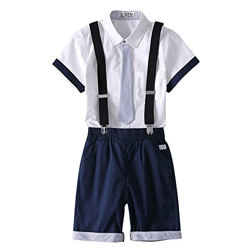Kungfu ant Kids Boys 2 Pcs Gentleman Short Sleeve Tie Shirt and Overalls Shorts Sets for 2 to 10 Age Little Boys (Navy Blue, 110(3-4 Years))