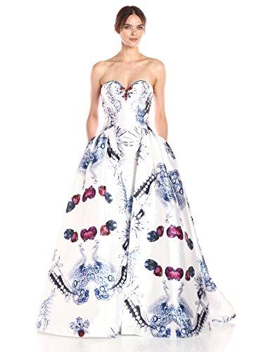 Mac Duggal Women's Strapless Bustier Gown, Diamond White, 8