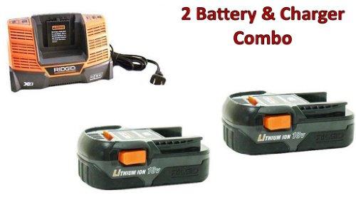 Ridgid R86006 Drill (2 Pack) 18V 1.5Ah Li-on Batteries & (1) 18V Charger (R840093) Combo # 130383025-2BC-140154001