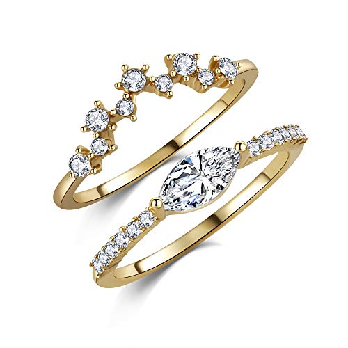 14k Yellow Gold Marquise CZ Set of 2 Stacking Ring Flashed Wedding Women Jewelry Sz 6-8 ()