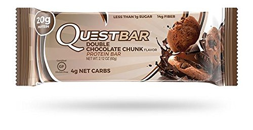 Quest Nutrition Protein Bar, Double Chocolate Chunk, 20g Protein, 4g Net Carbs, 190 Cals, Low Carb, Gluten Free, Soy Free, 2.12oz Bar, 12 Count, Packaging May Vary