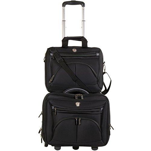 CALPAK CEO Black 2-piece Rolling Laptop Briefcase Set (Calpak Briefcase)