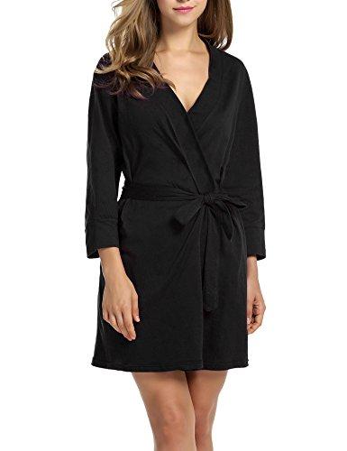 Hotouch Womens Bathrobe Soft Kimono Cotton Knit Robe Sleepwear Black S (Jersey Kimono)