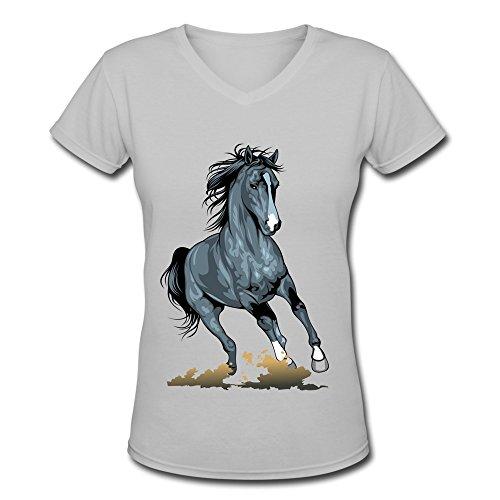 DONGCAN Women's Running Horses V-Neck T-shirts XXL