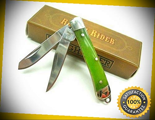 Lime Green Boon Tiny Trapper 2 Blade Folding Pocket Sharp Knife 1264 perfect for outdoor camping hunting (Cummins Pocket Knife)