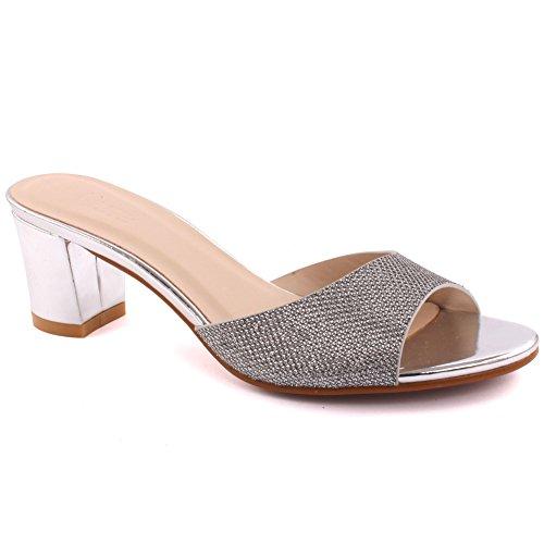 Unze Mujeres 'Maddy' Glittery mediados de-Low Bloque Heel Partido Prom Reunión Brunch Carnaval Wedding Evening Sandalias Talones Zapatos Uk Tamaño 3-8 Plateado