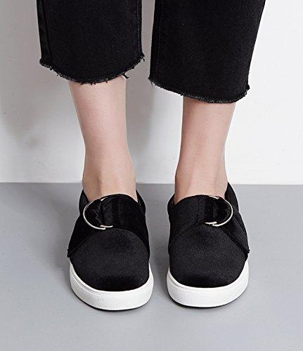 Eshion Kvinnor Komfort Läder Mockasiner Loafers Lägenheter Toffel Skor Svarta