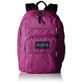 JanSport Big Student Backpack 14 Functional lightweight backpack featuring double main compartments, mesh side pocket, front pocket with organizer, padded back, and ergonomic S-curved straps