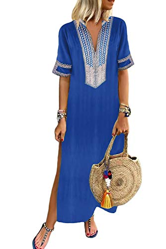 GOSOPIN Women Bohemian V Neck Short Sleeve Floral Maxi Dress Small Navy Blue
