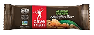 Caveman Foods Paleo-Friendly Nutrition Bar, Almond Cashew (Pack of 15)