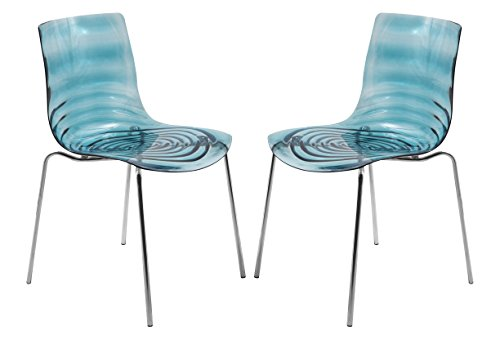 LeisureMod Water Ripple Design Modern Lucite Dining Side Chair with Metal Legs in Transparent Blue, Set of 2 (Blue Chairs Lucite)