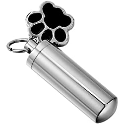 HooAMI Pet Puppy Dog Paw Cylinder Cremation Urn Necklace / Keychain Keepsake Ashes Pendant Memorial Jewelry