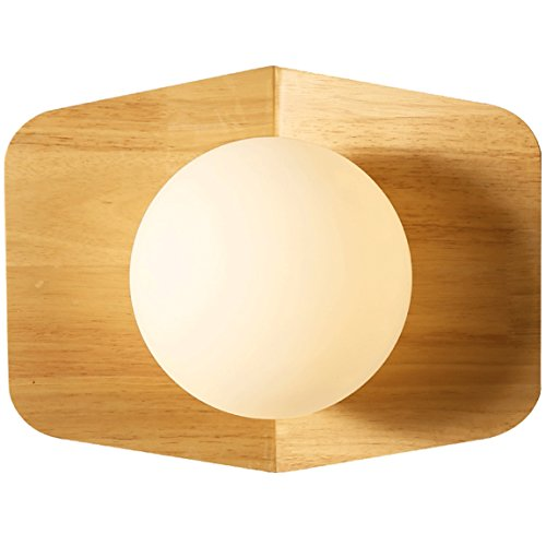 505 HZB Creative Solid Wood Wall Lamp, Nordic Living Room Aisle Corridor Lamp, Bedroom Bedside Lamp ()