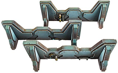 WWS Sci-fi 3 x Barricades / Walls, Suitable for Infinity, Warlord and Warhammer