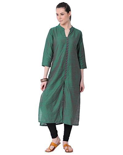 "- Lagi Designer Polly Silk Straight Kurti for Women Printed Tunic Top Mandarin Collar ¾ th Sleeve Dress"" (M-40)"