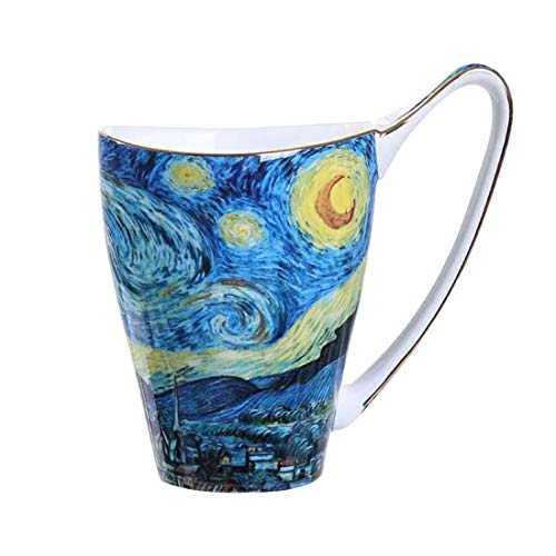 LYX Vincent Van Gogh Art ceramics Mugs, Large Capacity Cups - Unique with Handle - Unique Handle Fashion Cups - High Handle Cups - breakfast ceramics cup - Large brewery Mug