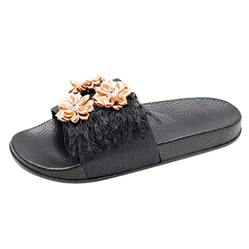 BODOAO Casual Slippers Womens Non-Slip Breathable Flower Tassel Flats Open Toe Shoes Brown ()