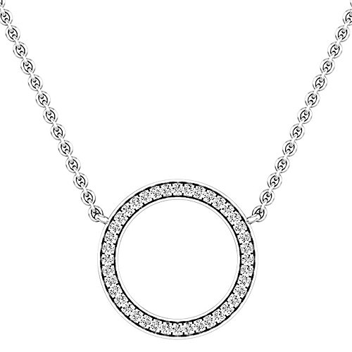 Dazzlingrock Collection 0.27 Carat (Ctw) 14K Round Diamond Ladies Circle Pendant (Silver Chain Included) 1/4 CT, White Gold