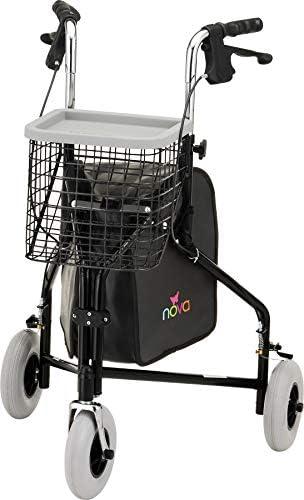 "NOVA Traveler 3 Wheel Rollator Walker, All Terrain 8"" Wheels, Includes Bag, Basket and Tray, Black"