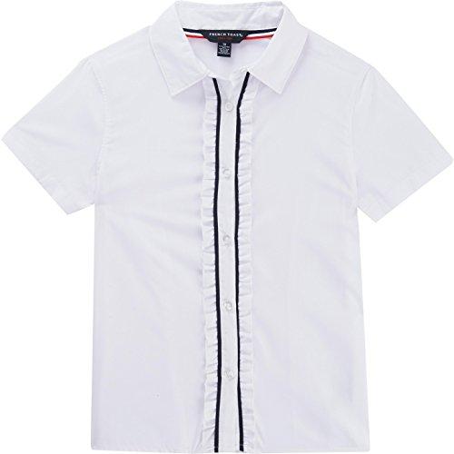 French Toast School Uniform Girls Short Sleeve Ruffle Blouse, White, (Poplin Ruffle Blouse)