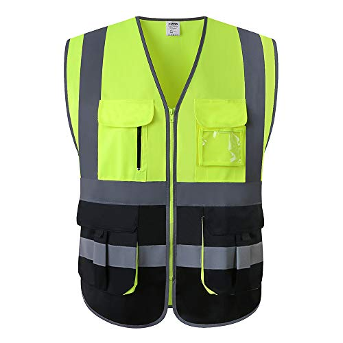 JKSafety 7 Pockets Class 2 High Visibility Zipper Front Safety Vest With Reflective Strips.Meets ANSI/ISEA Standards (Yellow-Black L)