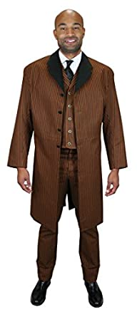 Men's 1900s Costumes: Indiana Jones, WW1 Pilot, Safari Costumes Historical Emporium Mens Chadwick Cotton Frock Coat $149.95 AT vintagedancer.com