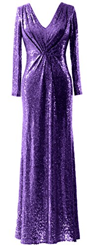 Bride MACloth Evening Mother Long Gown Elegant Dress Violett V Sleeves Neck Sequin of grqTvHOgWw
