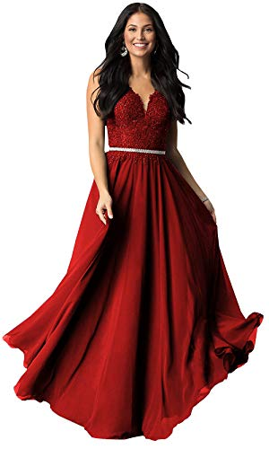 Women's V Neck Lace Bodice Chiffon Prom Dress Long Zipper Back Formal Party Gown (Burgundy,12)
