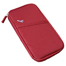10 Colors Durable Waterproof Nylon Travel Document Ticket Coin Wallet Passport Pen Holder Organizer W011 (Claret-red)