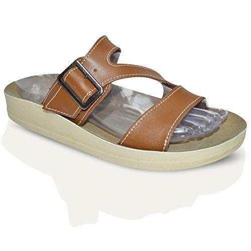 Pour Femmes En Cuir Plat DécontractéÉTé Plage String Barre En T Tongs Taille De Chaussures Sandales Femmes 3-8 UK - Brun Buckle À Enfiler, Femme, EU 40