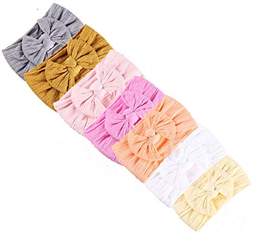 CaJaCa Baby Girl Nylon Elastic Knotted Headbands Newborn Infant Turban Soft Hairbands and Bows Hair Accessories (R02) ()