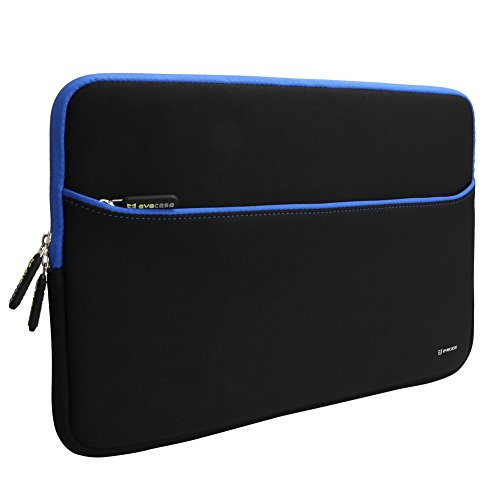 Sleeve Case Evecase 15.6-Inch Ultra-Slim Neoprene Padded Sleeve Pouch Bag w/ Accessory Pocket for Laptop / Gaming Laptop / Notebook / Ultrabook / Chromebook (Black and Blue Trim) (Notebook Case Series Sleeve)
