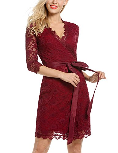 ANGVNS Womens Sleeve Wrap Front Cocktail