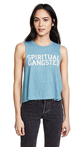 Spiritual Gangster Women's SG Varsity Crop Tank, Ocean, Medium