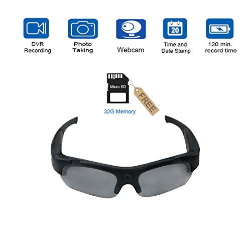 Smart Camera Video Glasses,1080P HD Video Recording Camera with 32GB Built-in Memory,UV Protection Safety Lenses,Sunglasses Camera